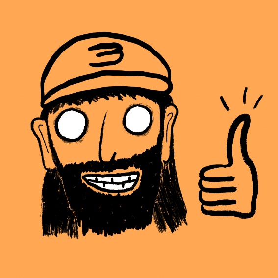 Handdrawn Illustration of Eddie, male, wearing a cap with a number 3